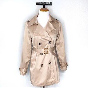 Zara Basic Camel Belted Short Trench Coat